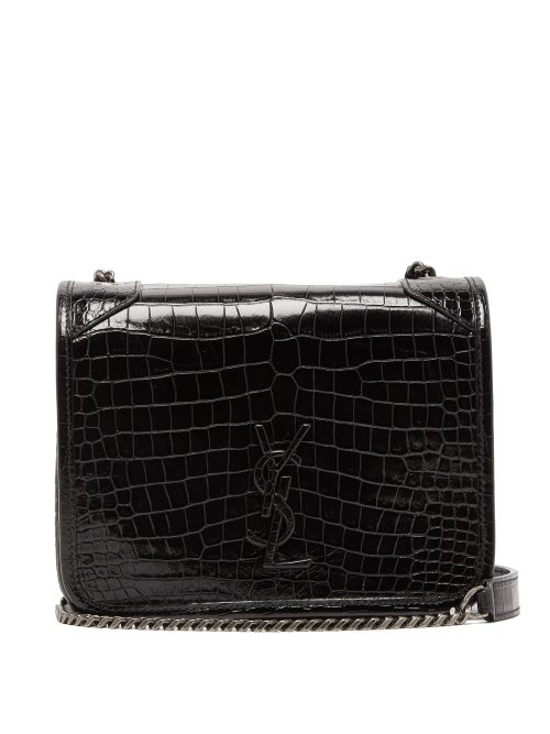 Saint Laurent - Niki Mini Crocodile-effect Leather Shoulder Bag - Womens - Black
