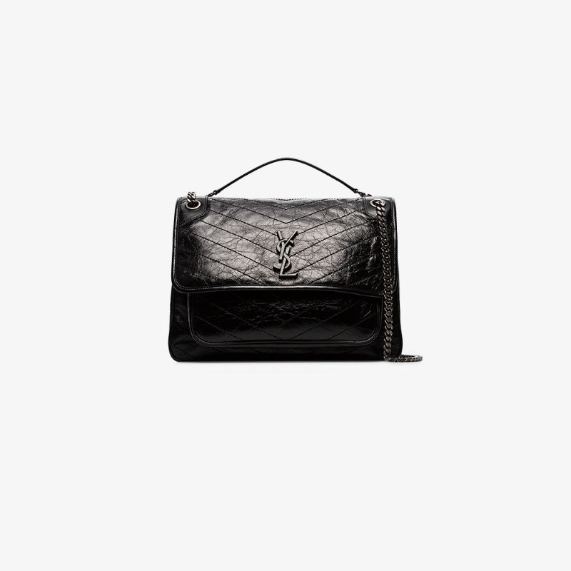 Saint Laurent Womens Black Niki Large Leather Shoulder Bag