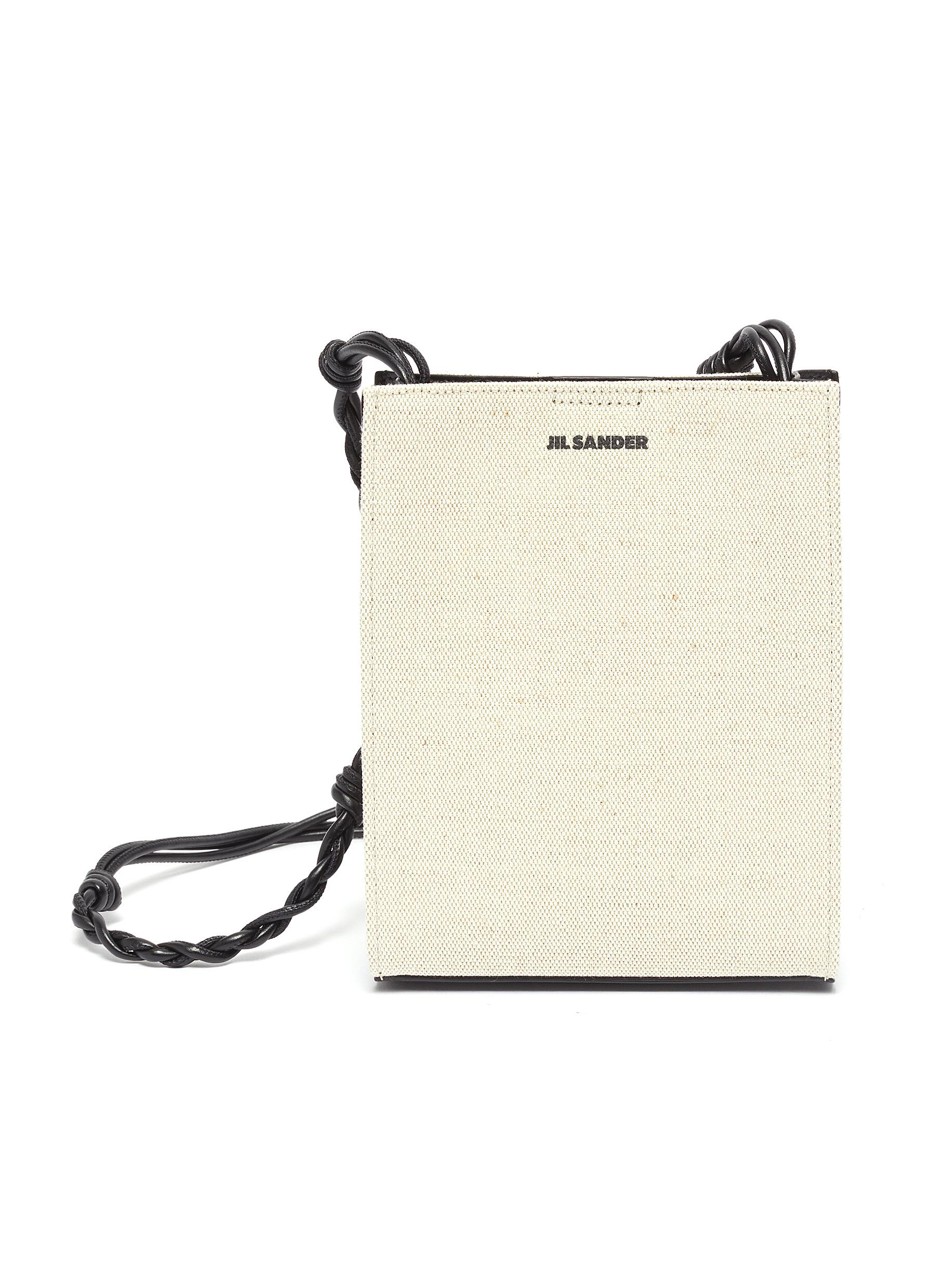 'Tangle' braided leather shoulder strap canvas small crossbody bag
