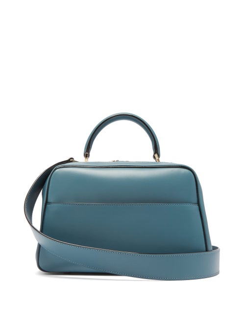 Valextra - Serie S Medium Smooth-leather Shoulder Bag - Womens - Blue