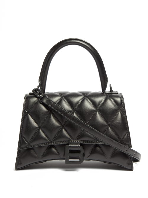 Balenciaga - Hourglass Quilted-leather Shoulder Bag - Womens - Black
