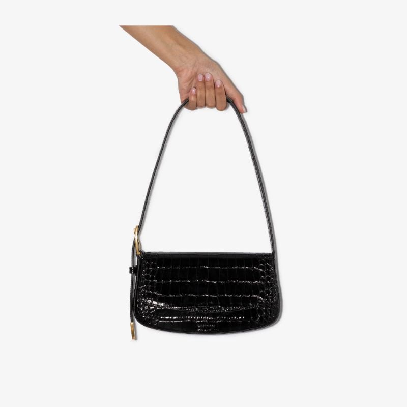 Balenciaga Womens Black Ghost Croc-effect Shoulder Bag