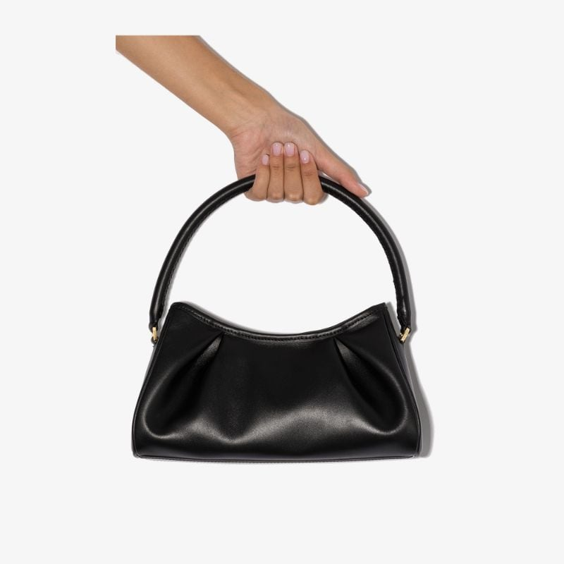 Elleme Womens Black Croissant Leather Shoulder Bag