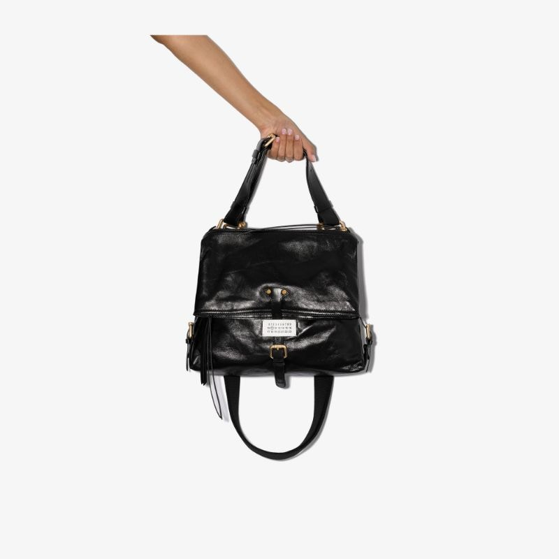 Maison Margiela Womens Black Ndn Leather Shoulder Bag