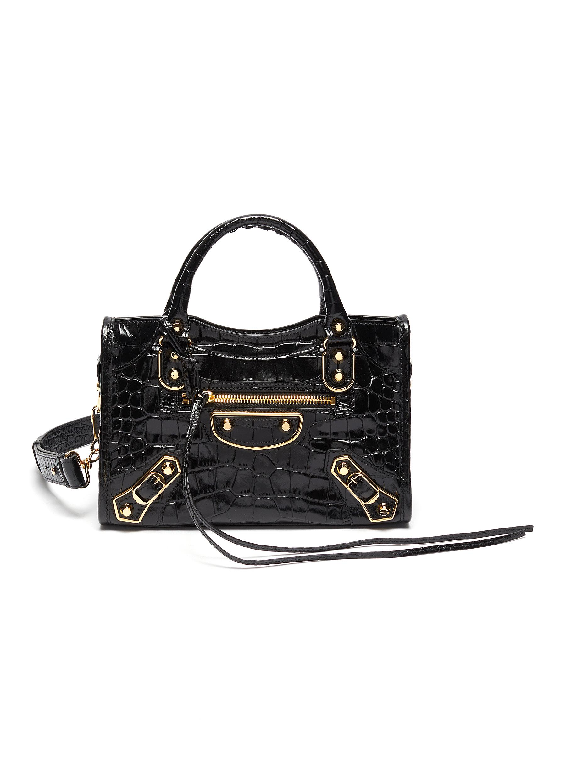 'Mini City AJ' croc embossed leather shoulder bag