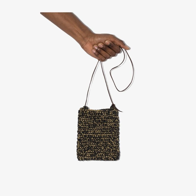 Nicholas Daley Mens Black Crochet Shoulder Bag