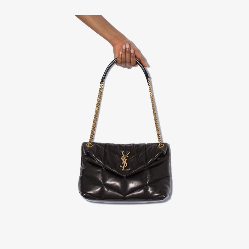 Saint Laurent Womens Black Loulou Puffer Small Leather Shoulder Bag