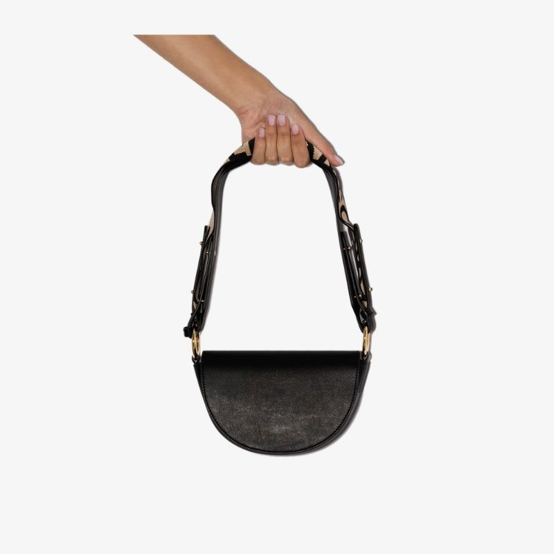 Stella Mccartney Womens Black Marlee Vegan Leather Shoulder Bag