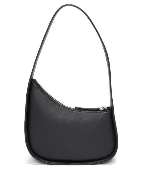 The Row - Half Moon Leather Shoulder Bag - Womens - Black