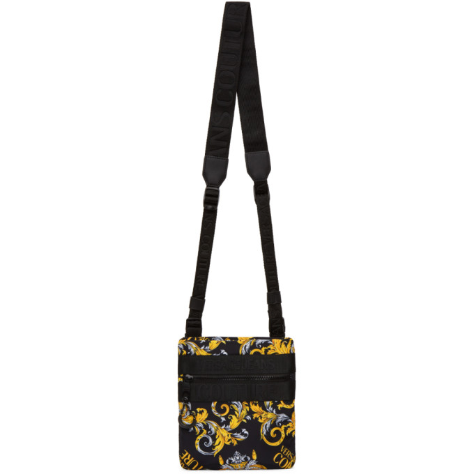 Versace Jeans Couture Black and Gold Barocco Logo Shoulder Bag